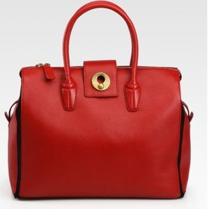 YSL Muse Two Cabas Red Shopper Tote -💯 Authentic